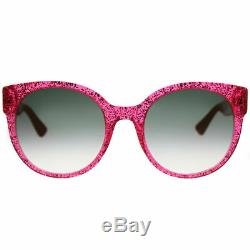 Gucci Gg0035s 005 Lunettes De Soleil Rondes En Plastique Glitter Rose Verres Dégradés Verts