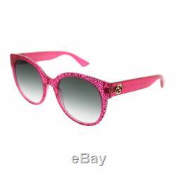 Gucci Gg0035s 005 Pink Glitter En Plastique Lunettes De Soleil Rondes Vert Dégradé Objectif 54mm