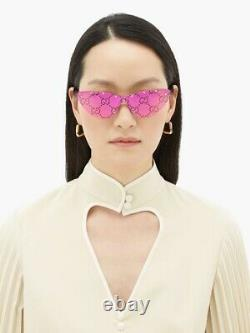 Gucci Gg0666s 666 003 Gold Pink Mirror Logo Green Lens Femmes Lunettes De Soleil Cateye