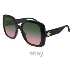 Gucci Gg0713s 002 Rose Noir Or Vert Dégradé Femme Lunettes De Soleil Grand Place