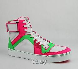 Gucci Homme Neon Leather Haute-dessus Baskets Avecstrap Vert/rose/blanc 386738 5663