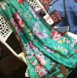 Gucci L70 W35 Pouces Floral Foulard En Soie Rectangulaire 2018 Vert / Rose Branding