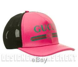 Gucci M Rose / 58 Cuir Vert Logo Sylvie Et Casquette De Baseball Hat Tn-o Auth 595 $