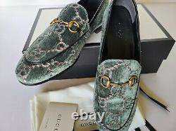 Gucci New Jordaan Loafer Pump Plats Green Rose Eur 37.5 / Us 7,5