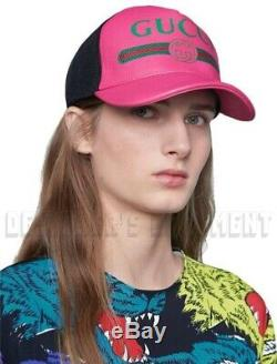 Gucci Rose L / 59 Cuir Vert Logo Sylvie Et Casquette De Baseball Hat Tn-o Auth 595 $