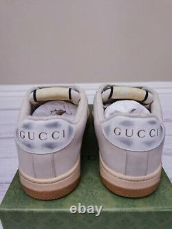 Gucci Screener Gg Toile Beige Crème Rose/green Cuir Détresse Us6-9 Eu36-39