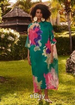 H & M Limited Edition Patterned Vert Rose Kaftan Taille M Bloggers Épuisé