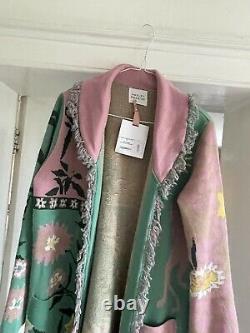 Hayley Menzies Enchanté Leopard Rose Et Vert Long Cardigan Manteau Nouveau Avec Des Étiquettes