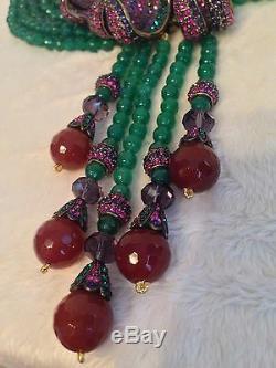 Heidi Daus Captivant Zantedeschia 6 Strand Vert Perle Tassel Collier Rose Lily