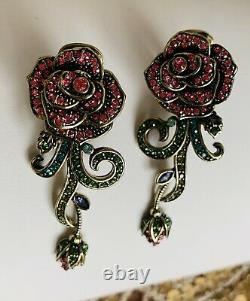 Heidi Daus Flower Necklace Earrings Rose Red Floral New Green Pink Purple Beads