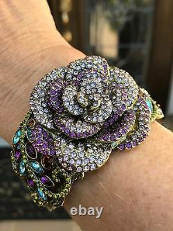 Heidi Daus Vert Violet Rose Garden Folly Rose Cuff Bracelet En Cristal, S/m
