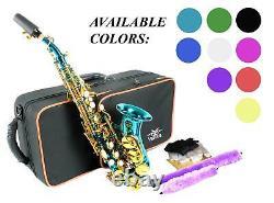 Incurvée Saxophone Soprano Noir Sax Nickel Or Blanc Bleu Rouge Rose Vert Violet