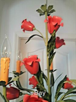 Italie Tole Style Couleur Rose Fleurs Fini Vert 5 Lustre Plugin Op