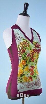 Jean Paul Gaultier $ 590 Nwt Maille Rose Vert Manches Fruit Floral Mesh S