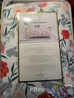 Kate Spade Roi Consolateur + 2 King Shams Cotton Blossom Blanc Rose Vert Nouveau