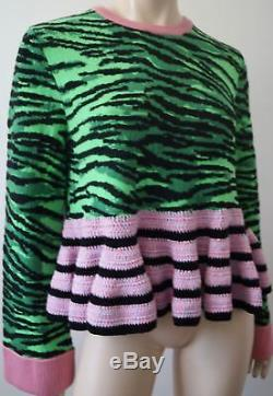 Kenzo X H & M Green & Black Tiger Motif Rose Hem Maille Pull M Bnwt
