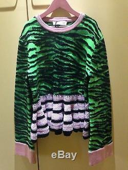 Kenzo X H & M Pull Vert Noir Rose Imprimé Tigre Nouveau Avec Étiquettes