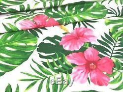 Ketmie Tropical Rose Vert Fabric Grand Print 100% Coton 160cm