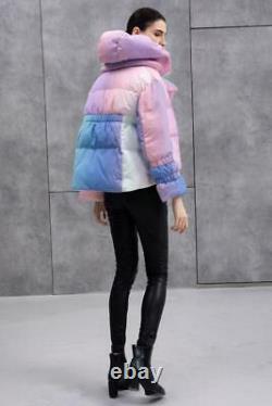 Kylie Jenner Pastel Arc-en-ombre Puffer Canard Veste En Duvet D'hiver Manteau Oversize