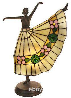 Lampe Danseur Tiffany, Verre De Plomb H43cm Beige Rose Vert Lampe De Table