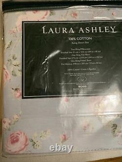 Laura Ashley 4-piece King Ensemble De Feuille 100% Coton Bleu Rose Vert Nip