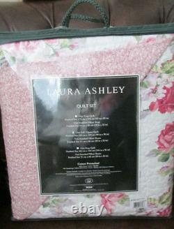 Laura Ashley Cotton Full/queen Quilt Set 3pc Chic Floral Pink Lavender Green