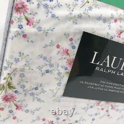 Lauren Ralph Lauren Cotton 4pc Blanc Rose Bleu Vert Ensemble De Feuille Florale Royaume