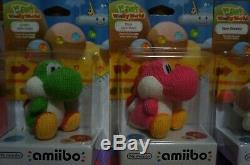 Le Monde Laineux De Nintendo Yoshi Amiibo Set Of 4. Poochy, Blue, Pink & Green! Nouveau