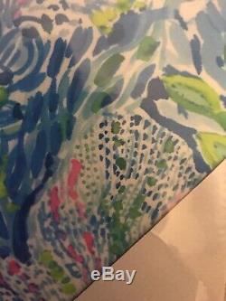 Lilly Pulitzer Nouveau Petite Toile Art Rose Vert Blue Design Livraison Gratuite