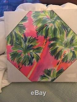 Lilly Pulitzer Nouveau Petite Toile Art Rose Vert Palmier Conception Livraison Gratuite