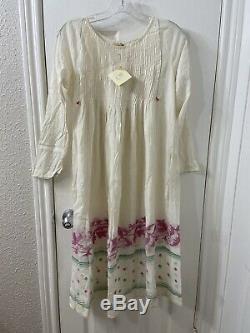 Longue Matta Coton Crème Rose Vert Robe À Manches Sz M