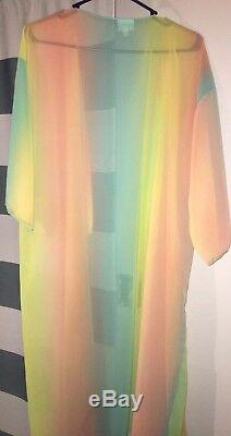 Lularoe Shirley Ombré Rose Jaune Orange Vert Sherbet Rainbow Unicorn L Tn-o.