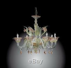 Lustre Élégant En Verre De Murano 8 Feu Vert, Rose, Or Et Cristal
