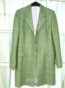 Magee Dames Portnoo Tweed Wool Coat 10 Uk Vert, Chèque Rose. Plus De 450 £