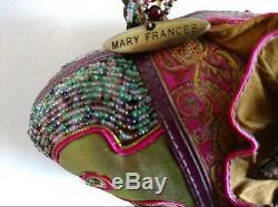 Mary Frances Perlée Sac À Main Eventail Fantaisie Collectionneurs Rose Original Vert Ruches