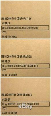 Medicom Be @ Rbrick Abc Bape Camo Shark 1000% Vert, Bleu, Rose 3 Set Singe Bearbrick