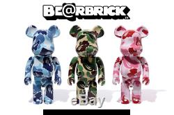 Medicom Be @ Rbrick Bape Abc Camo 1000% Bleu, Rose, Vert, 3 Paires De Singes Bearbrick