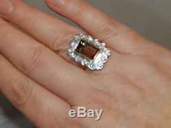 Melon 18ct Superbe Or Jaune Eau Tourmaline 0.7ct Diamant Cluster Anneau