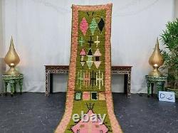 Moroccain Boujaad Handmade Runner 2'1x10'4 Berber Résumé Rug De Laine Rose Vert