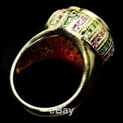 Naturel 14 Mm. Anneau De Garnet Ruby Rouge, Sapphire Rose Et Vert Tsavorite 925 Argent
