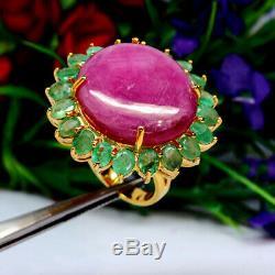 Naturel 20 X 23 Mm. Rose Rouge Ovale Ruby & Emeraude Anneau Vert Argent 925 Sterling