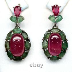 Naturel 7 X 12 Mm. Pink Ruby & Green Emerald 925 Serling Silver Earring