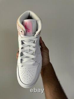 Navires Aujourd'hui! Air Jordan 1 MID Se Gs Paint Drip White Green Rose Dd1666-100