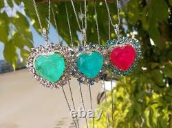 Neon Glow Natural Green Colombian Emerald And Pink Kunzite Heart Collier 925