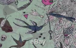 New Alexander Mcqueen Rose Vert 541341 Fantasy Nest Soie Crâne D'oiseau Foulard Imprimé