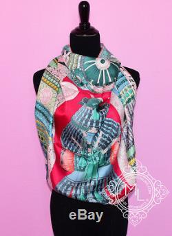 New Hermes 90 CM 36 Parures De Rose Samourais Green Silk Sergé Echarpe Shawl Carre