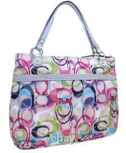 New Nwt Coach Poppy Signature Ikat Ivory Pink Blue Blue Glam Tote Purse 19876