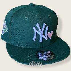 New York New York Yankees Sweethearts Heart Snapback Hat 1996 World Series Green/pink