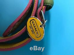 Nib Coach XL Mini Signature Collier De Chien Kaki Rose Jaune Vert Argent