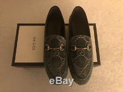 Nib Gucci Jordaan Vert / Rose Gg Velvet Mors Mocassins Taille 38.5eu / 8.5us 730,00 $